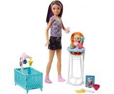 Barbie- Babysitters Pappa e Nanna Playset con Bambola Skipper, Seggiolone, Lettino e Bebè con Boccuccia Cambia Colore, Multicolore, FHY98