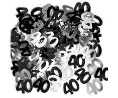Shatchi CONFETTI-40TH-BLACK-2PK-11764-2 confezioni di coriandoli per 40° compleanno, decorazioni da tavolo, 14 g