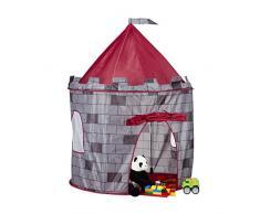 Relaxdays 10022457 Tenda Gioco per Bambini a Castello Casetta Giocattolo per Bimbi da 3 anni HxLxP: 125 x 105 x 105 cm Grigio