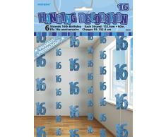 Unique Party 55331 - 1.5 m Decorazioni da Appendere per 16° Compleanno Blu Brillante, Confezione da 6
