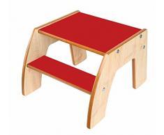 Little Helper - FunStep Sedia con Scalino Antiscivolo, per Bambini ai Primi Passi, in Legno, Rosso