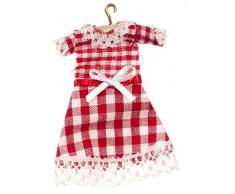 Melody Jane Miniatura Casa delle Bambole Accessori Neonato Bambina Percalle Rosso Vestito su Gancio