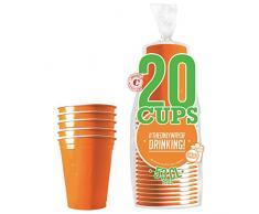 Original Cup - 20 x 53cl Bicchieri American Beer Pong, Bicchieri American Red, plastica, Lavabile, Riutilizzabile, Birra Pong Ufficiale, Festa, Giochi di bevute, Natale, Capodanno - Arancione
