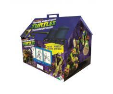 Multiprint Casetta 7 Timbri per Bambini Ninja Turtles, 100% Made in Italy, Set Timbrini Bimbi Personalizzati, in Legno e Gomma Naturale, Inchiostro Lavabile Atossico, Idea Regalo, Art.09884