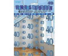 Unique Party 55335 - 1.5 m Decorazioni da Appendere per 40° Compleanno Blu Brillante, Confezione da 6