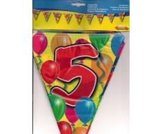 Folat Ghirlanda Numero 5 Compleanno Anniversario bandierine Catena