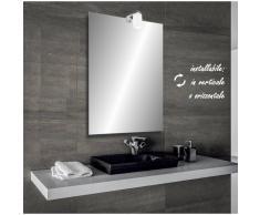 Bathman Srl Selina - specchio reversibile da bagno filo lucido 50x70 cm con lampada alogena