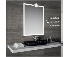 Bathman Srl Iced - specchio reversibile da bagno con cornice sabbiata 60x80 cm con lampada
