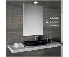 Bathman Srl Ecoled - specchio reversibile da bagno filo lucido 50x70 cm con lampada led 4w