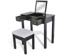 vidaXL Tavolo per il trucco con sgabello nero e 1 specchio pieghevole