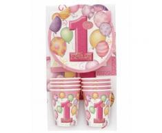 Kit coordinati tavola 1° compleanno rosa