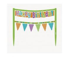 Decorazione Happy Birthday multicolor per torta di compleanno