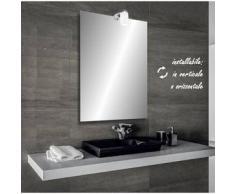 Zara - specchio reversibile da bagno filo lucido 60x80 cm con lampada alogena 25w - Bathman Srl