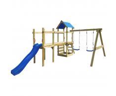 vidaXL Set da gioco in legno con scaletta, scivolo e altalene 463x275x243 cm