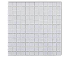 vidaXL Set 20 pz Piastrelle di vetro per mosaico bianco 1,8 mq