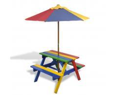 vidaXL Set Tavolo & panchina da picnic per bambini con parasole 4 colori