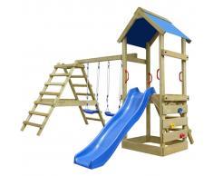 vidaXL Set da gioco in legno con scalette scivolo e altalene 356 255x242 cm