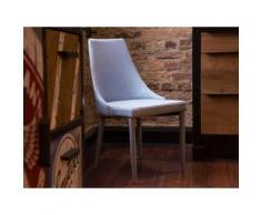 Sedia imbottita in tessutto azzurro chiaro da pranzo - Sedia moderna - CAMINO
