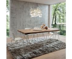 Tavolo fisso Denis con piano in legno, hpl, fenix, impiallacciato e base metallo verniciata
