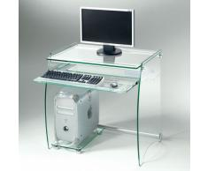 Celear, mobile porta PC con porta tastiera estraibile in alluminio e vetro temperato