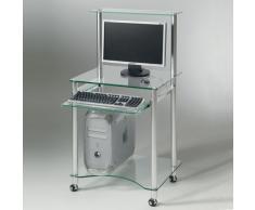 Compact, mobile porta PC con porta tastiera estraibile in alluminio e vetro temperato
