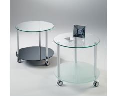 Dritter, tavolino rotondo su ruote con struttura in alluminio e ripiani in vetro temperato diametro 60 cm.
