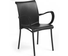 DAMA NEW Outdoor, poltrona impilabile con braccioli, gambe alluminio e seduta in polipropilene, per esterni ed interni