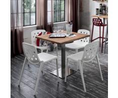 Tavolo quadrato contract Zoe, soluzione per bar e ristoranti con base metallo e piano legno vintage