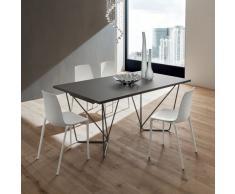 Tavolo allungabile Denis con piano in legno, hpl, fenix, impiallacciato e base metallo verniciata