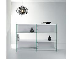 LIBRERIA BYBLOS COMPOSIZIONE 11 con fianchi in vetro e ripiani in melaminico