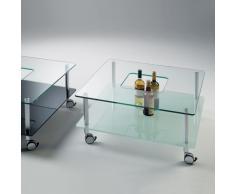 Hole, tavolino quadrato su ruote con struttura in alluminio e ripiani in vetro temperato