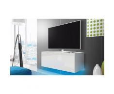 Mobile porta TV 100 cm con LED blu: Bianco/Bianco lucido