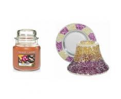 Candela, paralume e vassoio: Purple and Gold Crackle Mosaic Oud Oasis