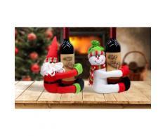 2x Portabottiglie: Pupazzo di neve e Babbo Natale