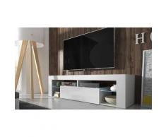 Mobile per TV Hugo con LED - Bianco/Bianco lucido
