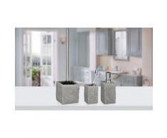 Set: Dispenser, bicchiere portaspazzolini e portascopino Granite