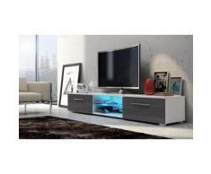 Mobile TV da salotto Edith - Bianco/grigio laccato