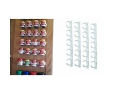 Set 4 strisce con 5 clip porta spezie adesive su tutte le superfici