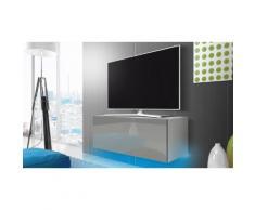 Mobile porta TV 100 cm con LED blu: Bianco opaco/Grigio lucido