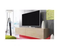 Mobile porta TV 200 cm con LED Rosso - Quercia Sonoma