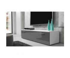 Mobile TV Boston 150 cm - Corpo bianco / Frontale grigio lucido
