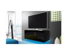 Mobile porta TV 100 cm con LED Azzurro - Nero / Nero lucido