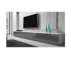 Mobile TV Boston 300 cm - Corpo bianco / Frontale grigio lucido