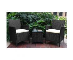 Set di 2 sedie e tavolo da giardino - Nero