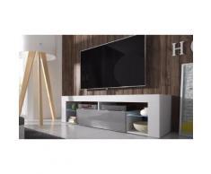 Mobile per TV Hugo con LED - Bianco/Grigio lucido
