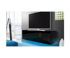 Mobile porta TV 140 cm con LED blu: Nero/Nero lucido