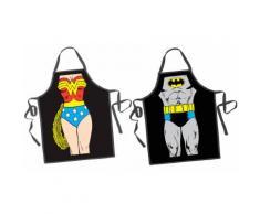 2x Grembiule Batman/Wonder Woman