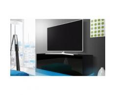 Mobile porta TV 140 cm con LED Azzurro - Nero / Nero lucido