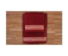 1x Set di 2 asciugamani in spugna - Rosso