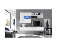 Parete da soggiorno sospesa a 3 elementi - Bianco - 210 x 36 x 200 cm
